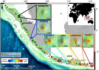 ground velocity map of the west Sunda volcanic region, Indonesia