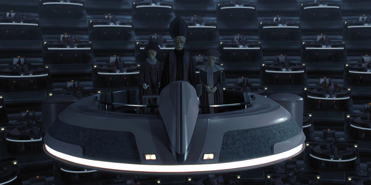 Nemoidians in a Galactic Senate meeting in Star Wars: The Phantom Menace