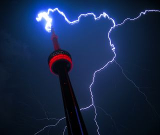 Lightning strikes the CN Tower