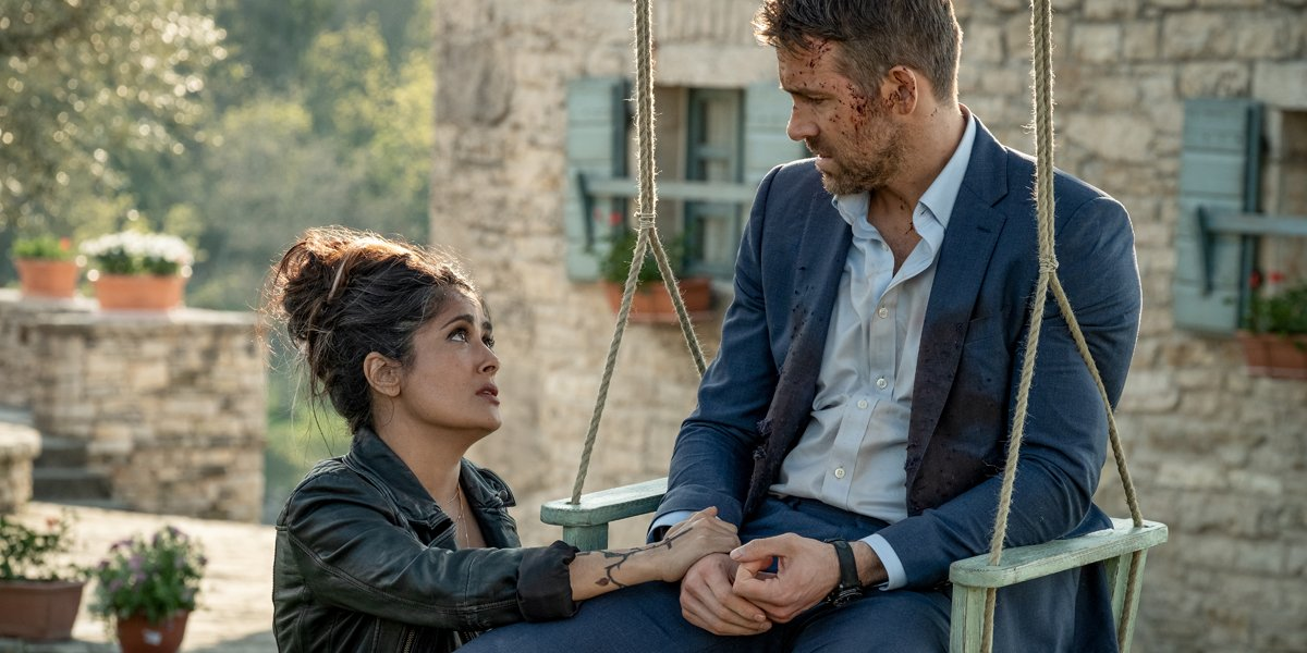 Salma Hayek and Ryan Reynolds in The Hitman's Wife's Bodyguard