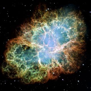 Hubble Space Telescope image of the Crab Nebula, a famous and well-studied supernova remnant.