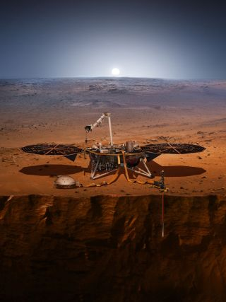 A lander with two broad solar panels sits on the dusty surface of Mars, sending a probe down below.