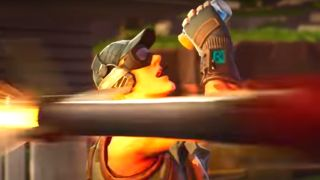 A Guided Missile whizzes past a would-be Chug Jug imbiber in this still from a Fortnite trailer.