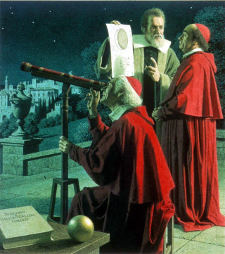 Galileo explaining lunar topography to two cardinals. Painting by Jean Leon Huens.