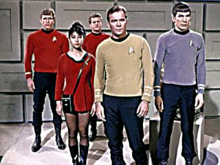 Red-shirted Enterprise crew