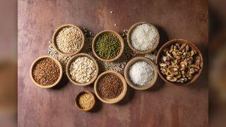 Grains in wooden bowls
