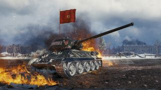 A soviet tank waving a banner against an explosion