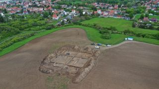 An aerial view of the church built for Otto the Great, along with nearby burials, as seen from the southwest.