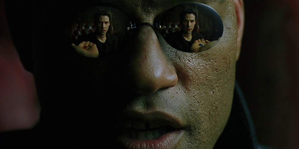 Laurence Fishburne as Morpheus , with Keanu Reeves' Neo Matrix