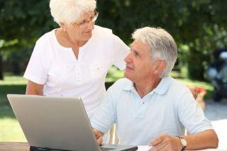 elderly, aged, computer