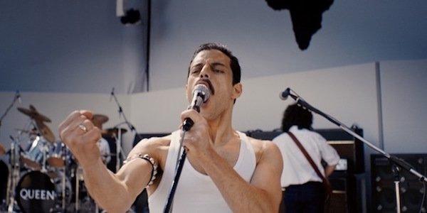 Rami Malek as Freddie Mercury performing at Live Aid in 1985 in the film Bohemian Rhapsody