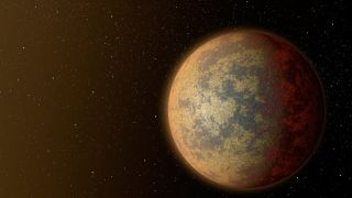 An artist's conception of the planet HD 219134b, one of the nearest rocky exoplanets to our solar system. This planet, which is about 1.6 times as big as Earth, is blazing hot, with a partially molten surface.