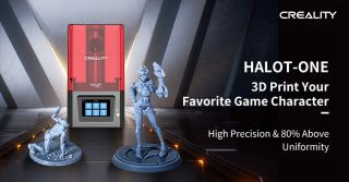 HALOT-ONE promotional image displaying printer and Overwatch character models