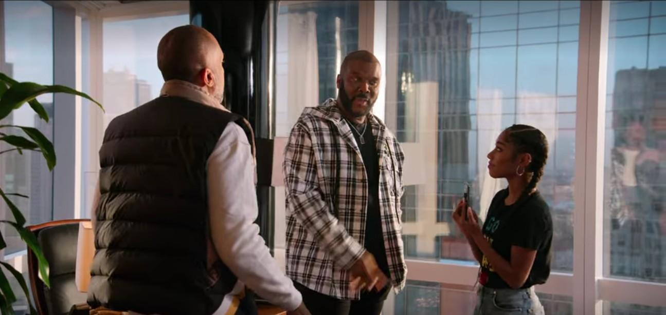Kenya Barris, Iman Benson, and Tyler Perry in #blackAF