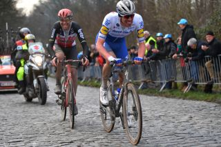 Deceuninck-QuickStep's Tim Declercq in the thick of the action – with Lotto Soudal's Frederik Frison – at the 2020 Omloop Het Nieuwsblad