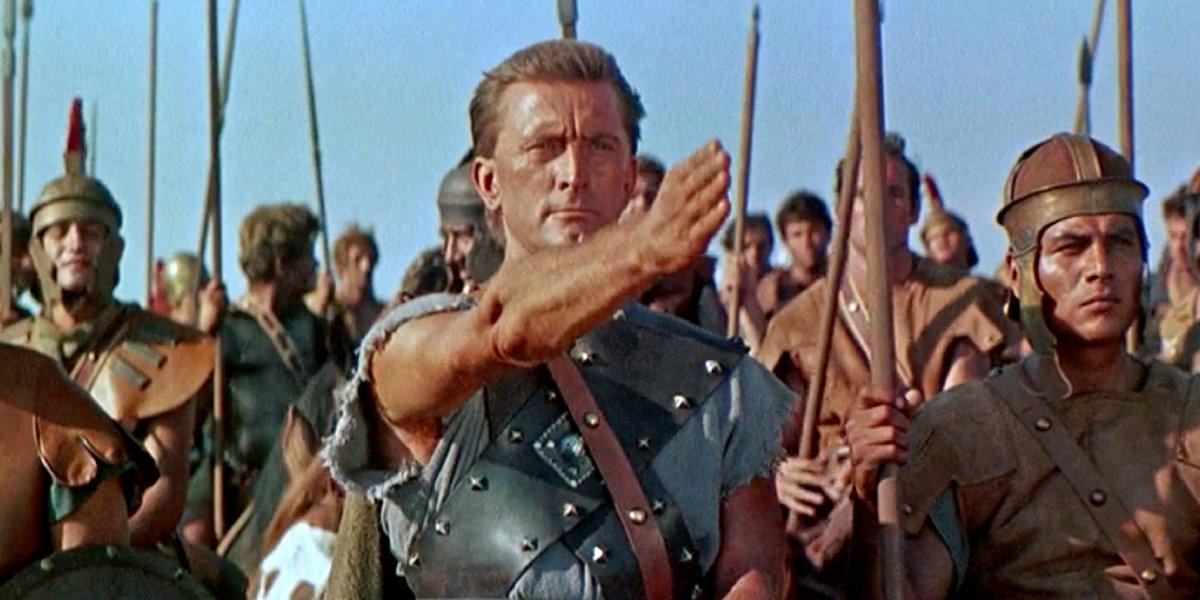 Kirk Douglas leads the slaves in revolt in Spartacus