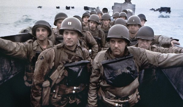 Tom Hanks and Tom Sizemore prepare to storm the beaches of Normandy in Saving Private Ryan