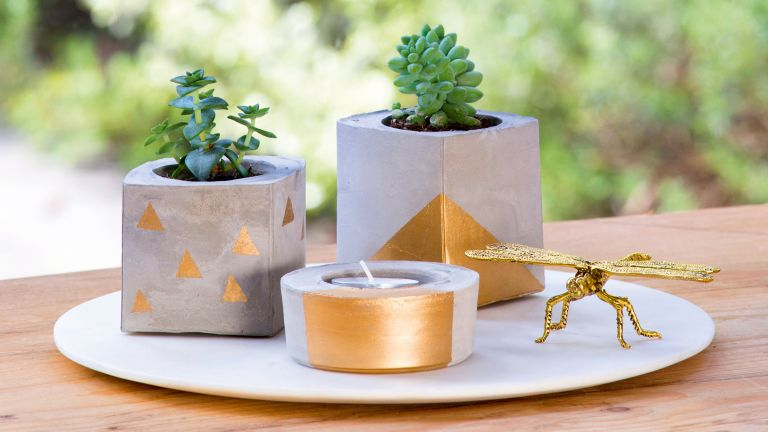 Cement planters, gold tealight
