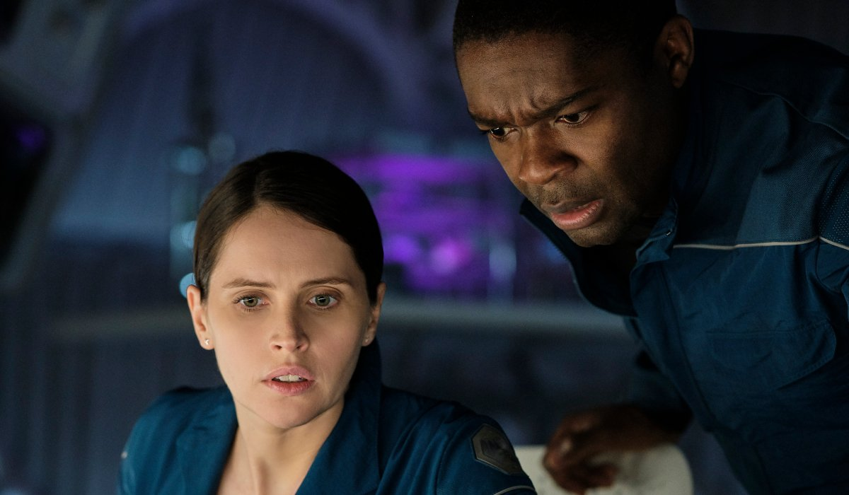 The Midnight Sky Felicity Jones and David Oyelowo look at a concerning message