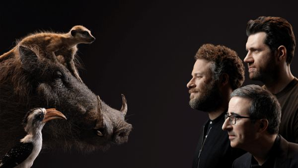 Billy Eichner, Seth Rogen and John Oliver with Timon Pumbaa and Zazu