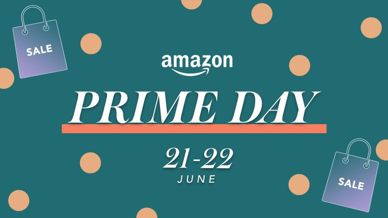 Amazon Prime Day text on a polka dot background with the dates 21st and 22nd of June overlaid