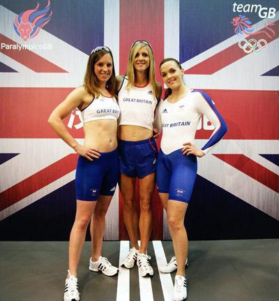 Victoria Pendleton Heather Fell Liz Yelling GB Olympic kit
