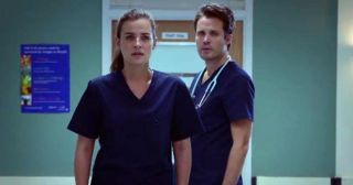 james anderson and Camilla Arfwedson as Oliver Valentine and Zosia March in Holby City