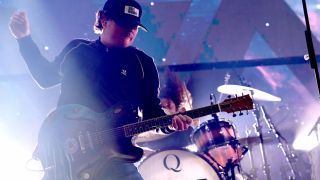 Tom DeLonge of Angels and Airwaves performs onstage during KROQ Absolut Almost Acoustic Christmas 2019 at Honda Center on December 7, 2019 in Anaheim, California.