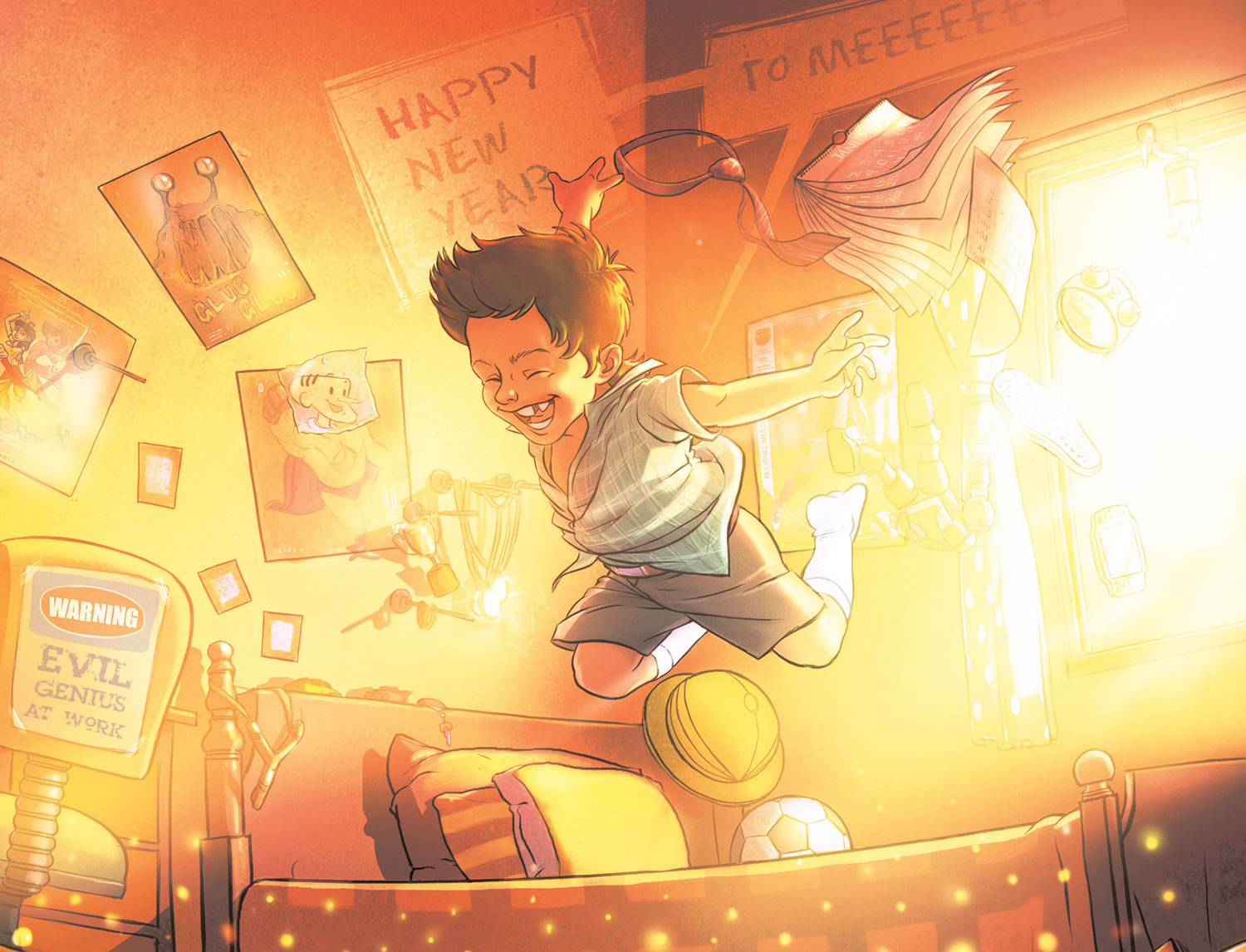 Child jumping for joy in his sunlit bedroom, with 'Happy New Year to Meeeee' speech bubble
