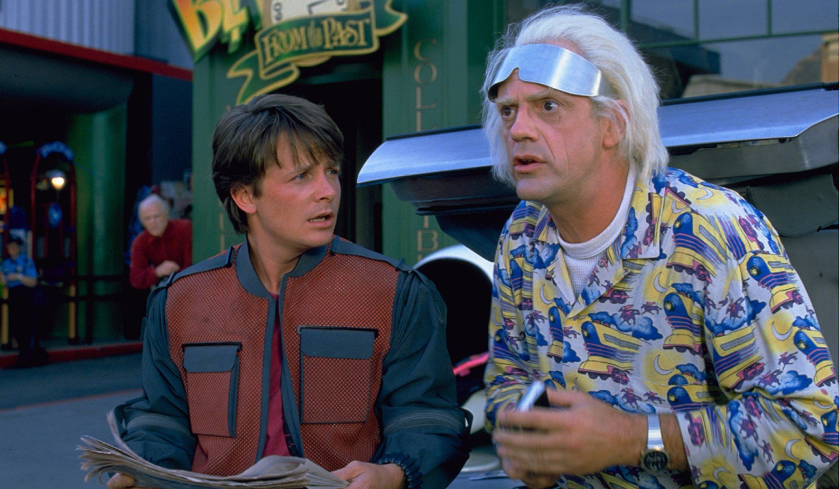 Back To The Future: Part II Marty and Doc in front of the antique shop